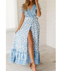 estilo bohemio vestido estampado de playa - blanco