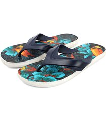 sandalia flip flop azul-blanco-naranja colore