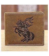 leather wallet, 'fearless knight' (india)