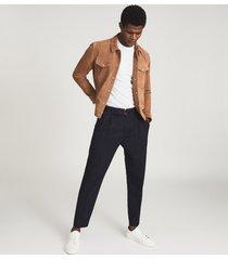 reiss jagger - suede trucker jacket in tobacco, mens, size xxl