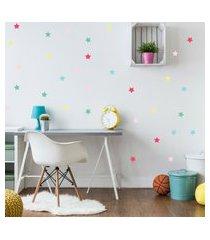 adesivo de parede quartinhos infantil estrelas coloridas rosa e azul