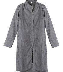 lange blouse van tencel™ met fijne ingeweven strepen, grijs gestreept 40