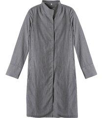 lange blouse van tencel™ met fijne ingeweven strepen, grijs-gestreept 38
