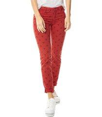 pantalón bordado para mujer - rojo