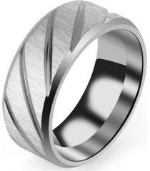 anillo magnetico acero inoxidable plateado