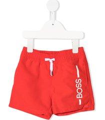 boss kidswear leg logo swim shorts - orange