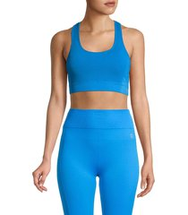nine west women's seamless racerback sports bra - diva blue - size l/xl
