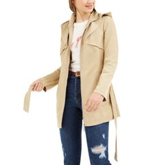 jou jou juniors' hooded trench coat