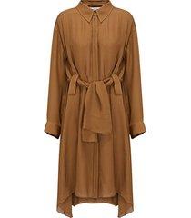 fluid luxury dress in brown olive