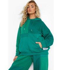 oversized groene colour block hoodie, green