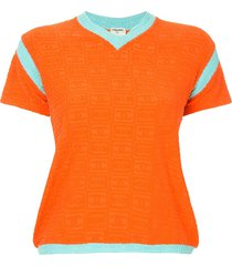 chanel pre-owned 2002 cc embossed terry top - orange
