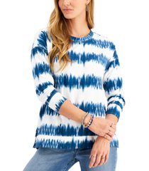 style & co petite tie-dyed stripe sweatshirt, created for macy's