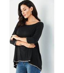 black sequins embellished trim top
