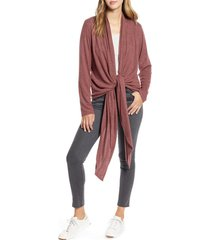 women's loveappella drape tie front cardigan, size large - purple