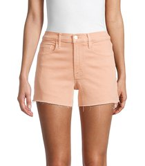 frame women's le brigette frayed shorts - clay - size 24 (0)