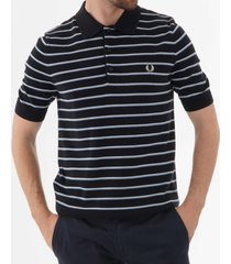 fred perry fine stripe knitted polo shirt - navy k5511-608
