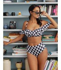 totally check bardot bikini top