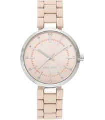nine west women's glitter accented silver-tone and pink rubberized bracelet watch, 36mm