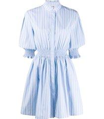 msgm ruched waist striped shirt dress - blue