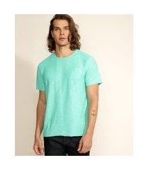 camiseta masculina básica flamê com bolso manga curta gola careca verde água