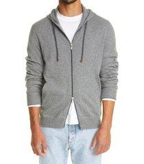 men's brunello cucinelli cashmere zip front hoodie, size 40 us - grey