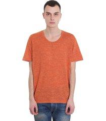 alanui silk linen t-shirt in orange wool