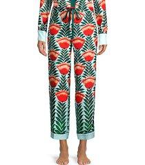 floral silk pajama pants