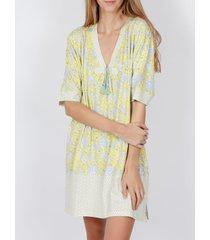 pyjama's / nachthemden admas nachthemd geel hippy adma's