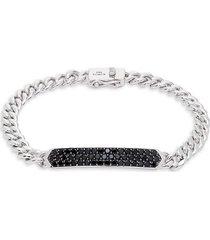 effy men's 925 sterling silver & black spinel bar pendant chain bracelet