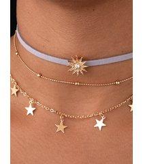 collar de aleación de sol estrella de múltiples capas de oro