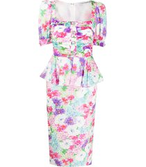 alessandra rich floral print fitted dress - pink
