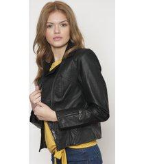 chaqueta de cuero negra 609 seisceronueve