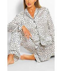 satijnen pyjama set met stippen, wit