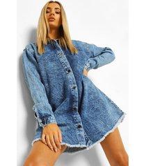 oversized acid wash gebleekte blouse jurk met gerafelde zoom, vintage wash