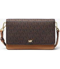 mk borsa a tracolla convertibile in pelle con logo - marrone - michael kors