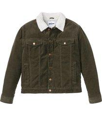 giacca in velluto con pellicciotto sintetico (verde) - john baner jeanswear