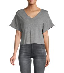 jack by bb dakota women's v-neck short-sleeve top - heather grey - size m