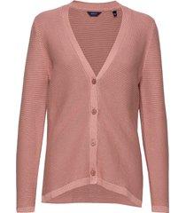 d1. textured cotton cardigan gebreide trui cardigan roze gant
