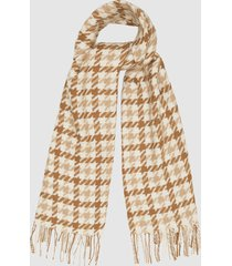 reiss tori - houndstooth wool scarf in orange, womens