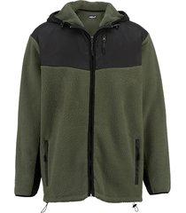 fleece vest men plus donkergroen::zwart