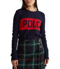 chaleco logo cable-knit azul polo ralph lauren