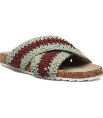 yvonne crochet sandal shoes summer shoes flat sandals brun becksöndergaard