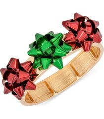 holiday lane tri-tone triple bow stretch bracelet, created for macy's