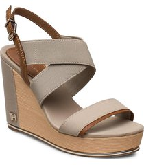 th hardw basbasic high wedge sandalette med klack espadrilles beige tommy hilfiger