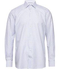 checked cotton & linen shirt skjorta business blå eton