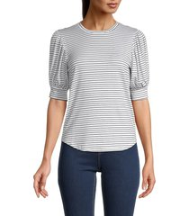 frame women's balloon-sleeve striped top - blanc multi - size xs
