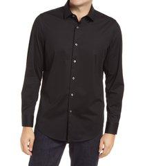 men's bugatchi ooohcotton tech solid knit button-up shirt, size xx-large - black