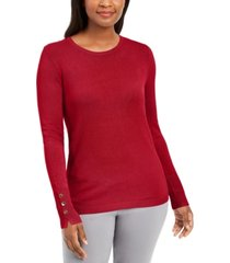 jm collection petite button-cuff crewneck sweater, created for macy's