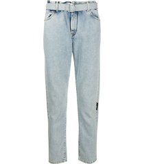 off-white slim bleached jeans - blue