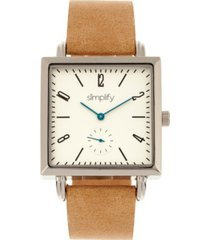 simplify quartz the 5000 white dial, genuine khaki leather watch 38mm